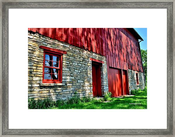 Red Barn In The Shade Framed Print