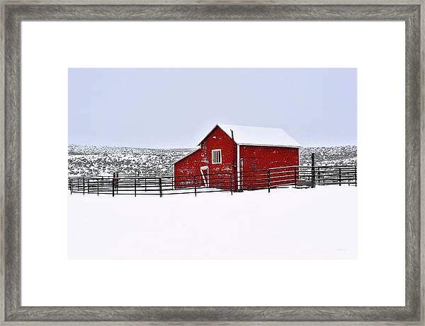Red Barn In Winter Framed Print