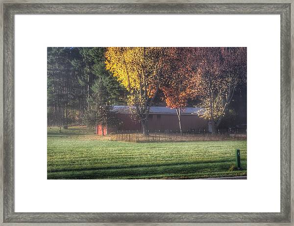 0041 - Red Barn On A Foggy Fall Morning Framed Print
