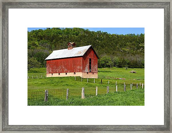 Red Barn With Cupola Framed Print