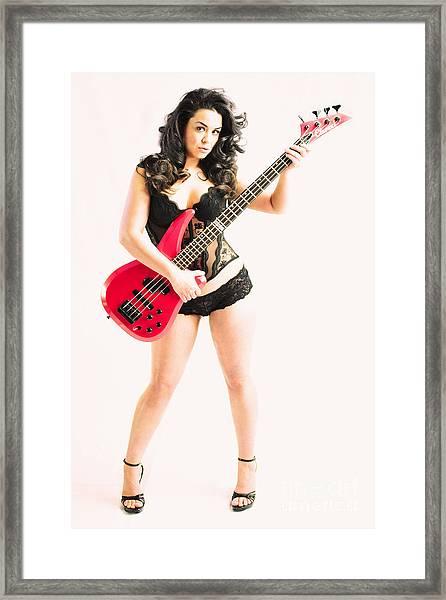 Red Bass Guitar Framed Print