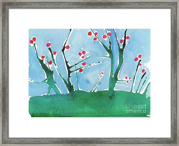 Red Berry Flowers Framed Print