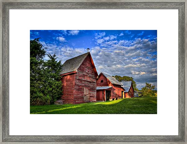 Red Blue And Green Barns At Windsor Castle Framed Print by Williams-Cairns Photography LLC