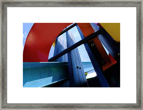 Red Blue And Yellow In Downtown Orlando Florida Framed Print