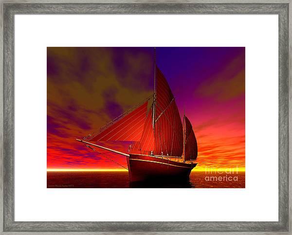 Framed Print featuring the digital art Red Boat At Sunset by Sandra Bauser Digital Art