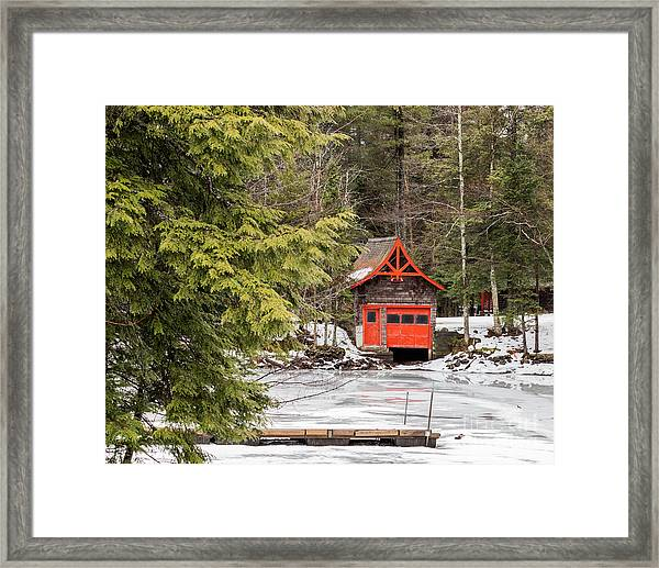 Red Boathouse Framed Print