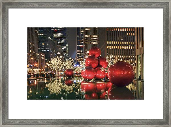 Red Bubbles Framed Print