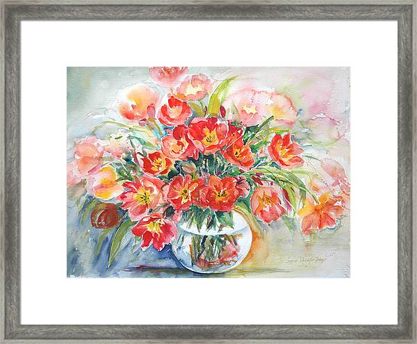 Red Burst Framed Print