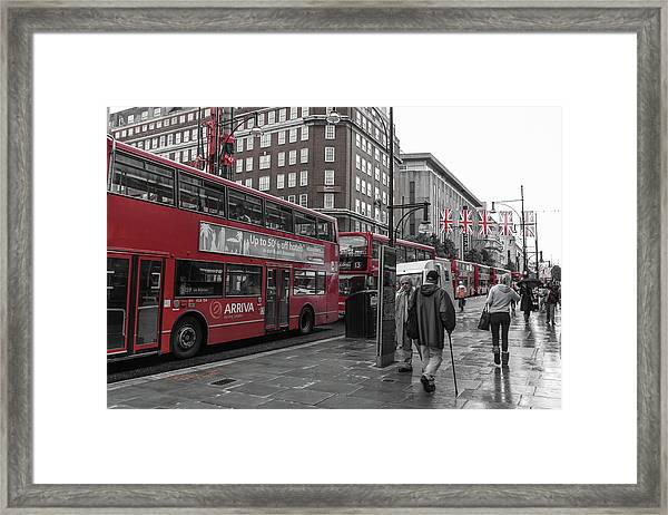 Red Buses And Rain Framed Print