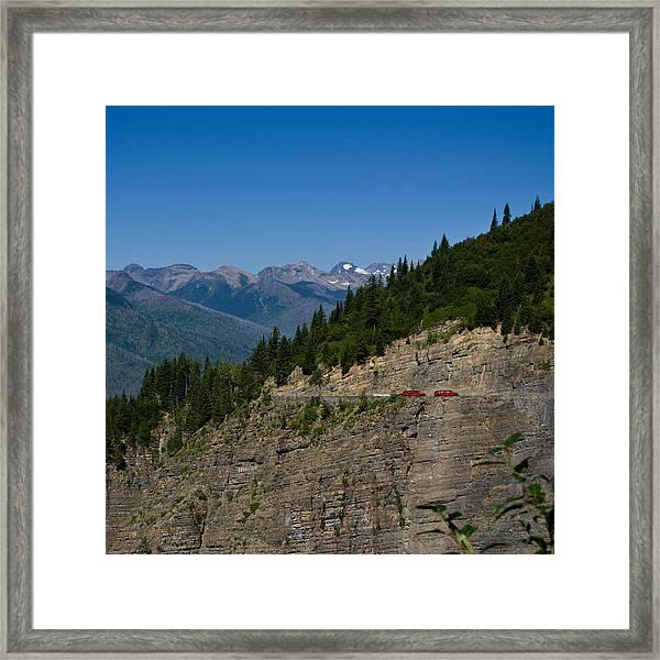 Red Buses, Glacier National Park Framed Print