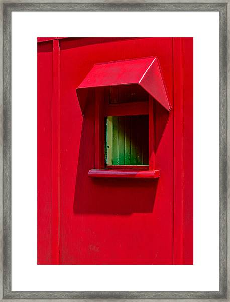 Red Caboose Window In Shade Framed Print