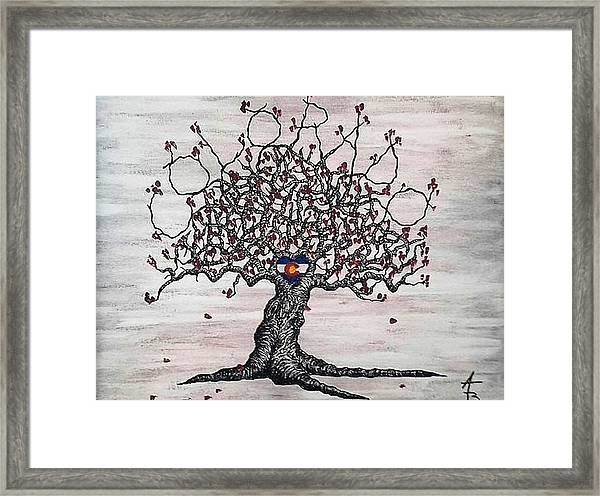 Framed Print featuring the drawing Red Colorado Love Tree by Aaron Bombalicki