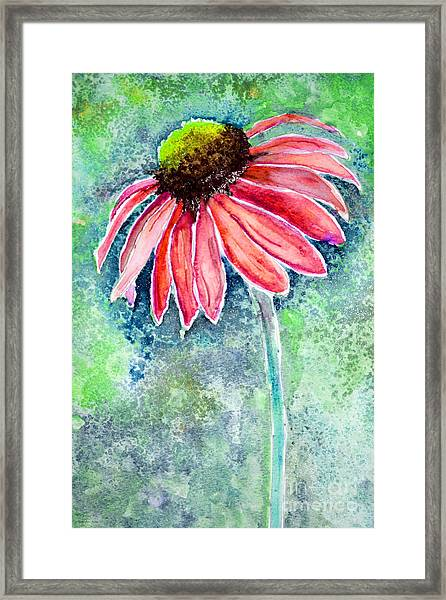 Framed Print featuring the painting Red Cone Flower 9-1-15 by Mas Art Studio