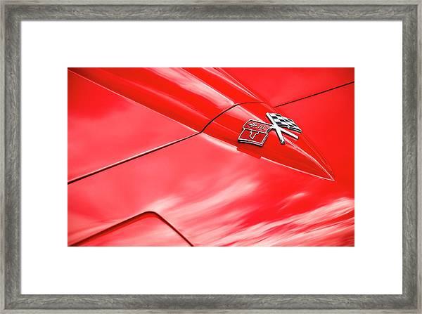 Red Corvette Hood Framed Print