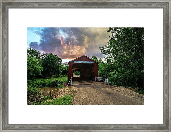 Red Covers Bridge With Pretty Sky  Framed Print