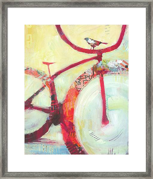 Framed Print featuring the painting Red Cruiser And Bird by Shelli Walters