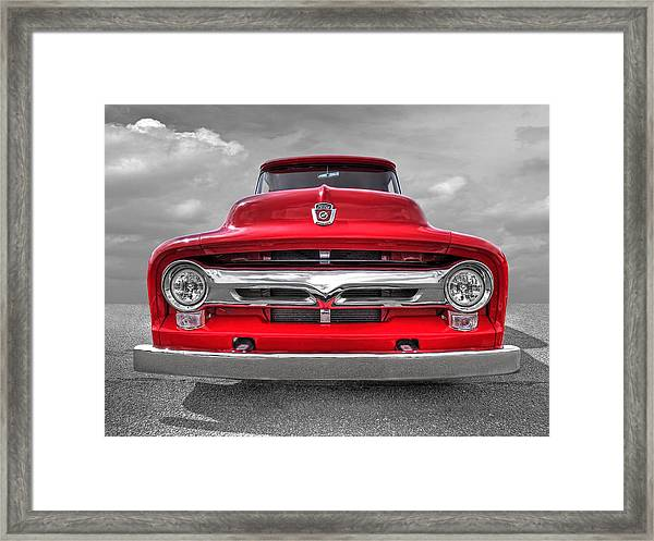 Red Ford F-100 Head On Framed Print