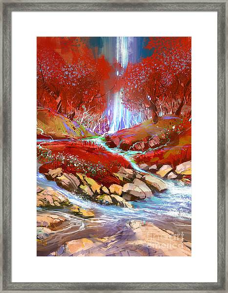 Framed Print featuring the painting Red Forest by Tithi Luadthong