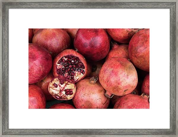 Red Fresh Pomegranate Fruits Framed Print