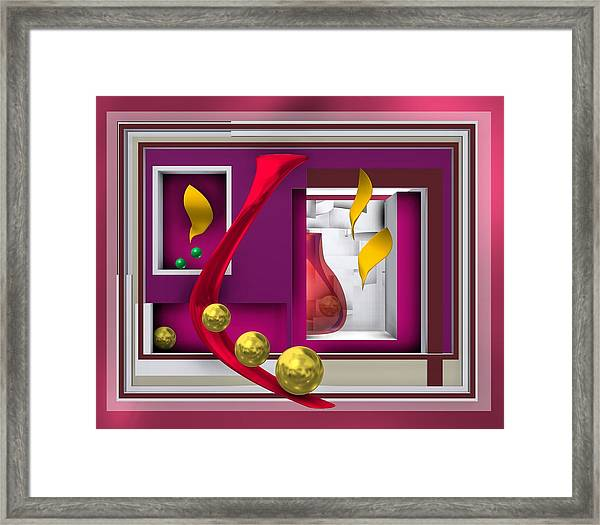 Red Glass In The Room With White Light Framed Print