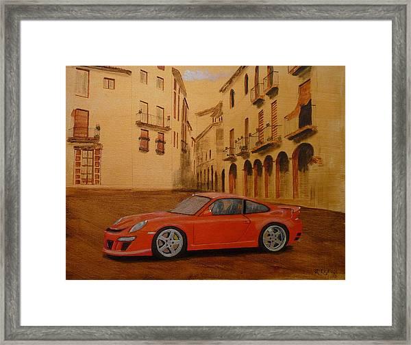 Red Gt3 Porsche Framed Print