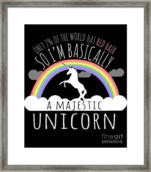 Red Hair Majestic Unicorn Funny Redhead Framed Print