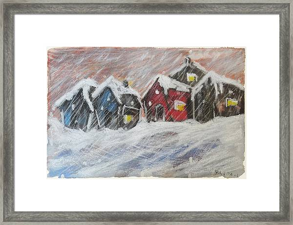 Red House In The Snow Framed Print