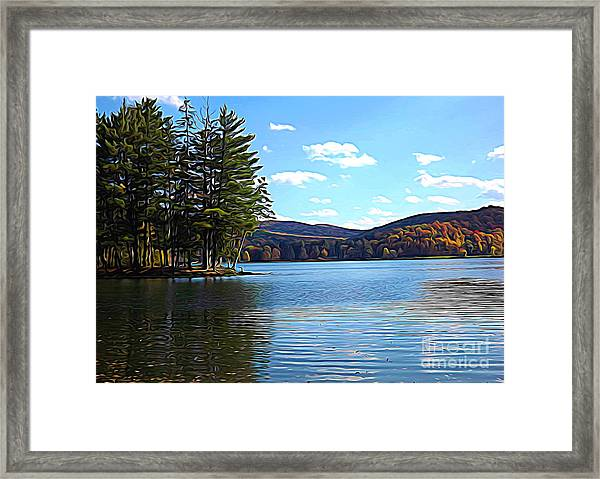 Red House Lake Allegany State Park In Autumn Expressionistic Effect Framed Print