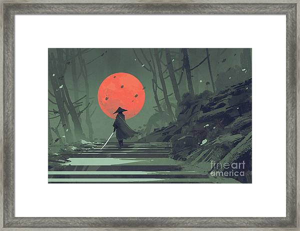 Framed Print featuring the painting Red Moon Night by Tithi Luadthong