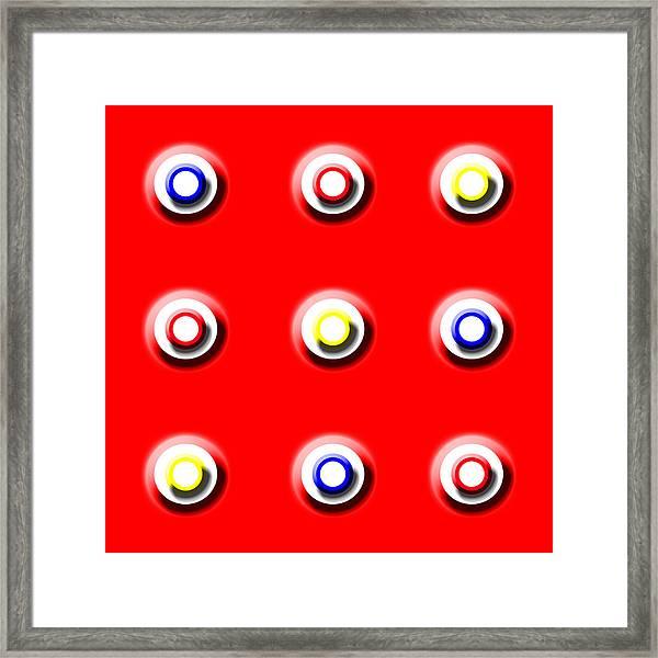 Red Nine Squared Framed Print