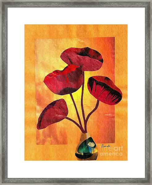 Red On Orange Framed Print