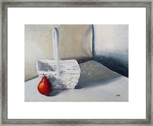 Framed Print featuring the painting Red Pear by Break The Silhouette