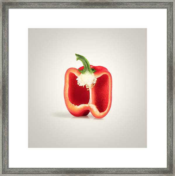Red Pepper Cross-section Framed Print