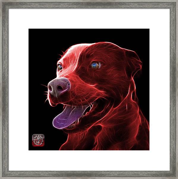 Red Pit Bull Fractal Pop Art - 7773 - F - Bb Framed Print