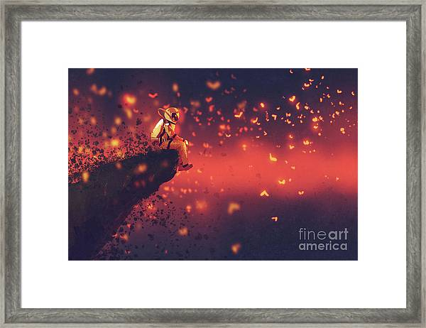 Framed Print featuring the painting Red Planet by Tithi Luadthong
