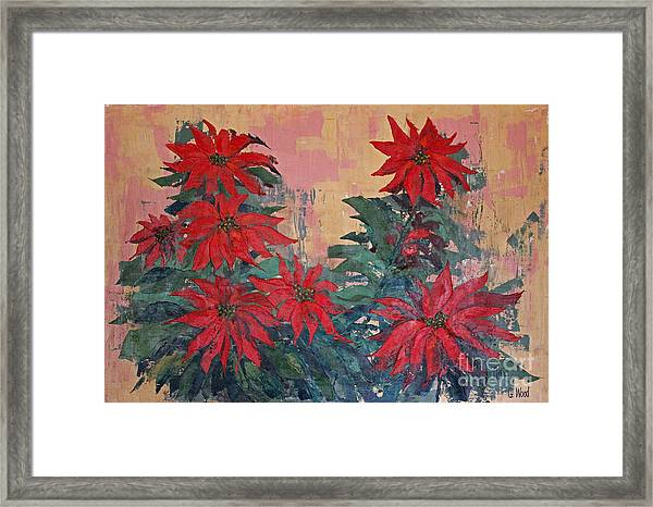 Red Poinsettias By George Wood Framed Print