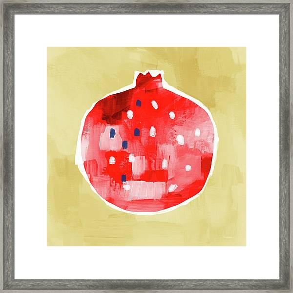 Red Pomegranate- Art By Linda Woods Framed Print