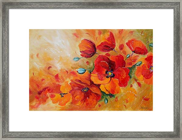 Red Poppies Impressionist Abstract Painting By Artist Ekaterina Chernova Framed Print