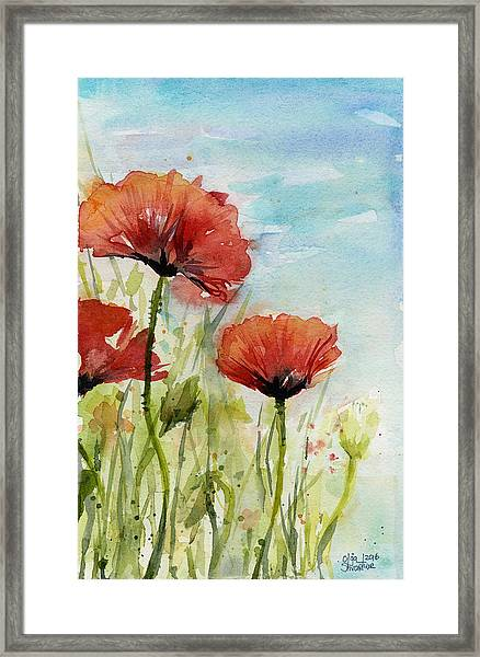Red Poppies Watercolor Framed Print