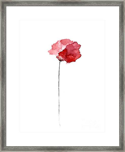Red Poppy Watercolor Minimalist Painting Framed Print