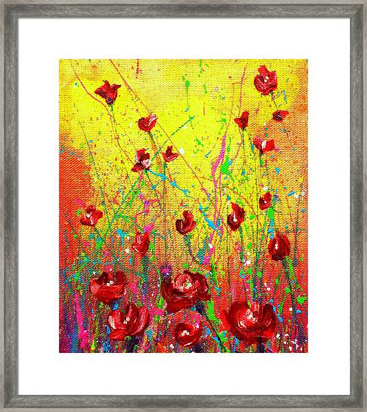 Red Posies Framed Print