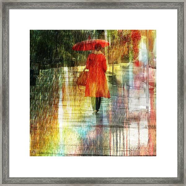 Red Rain Day Framed Print