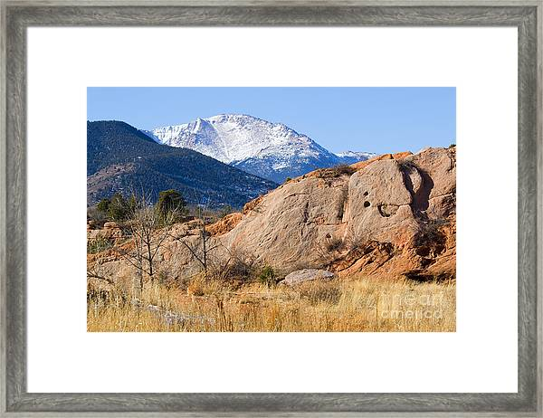Red Rock And Pikes Peak Framed Print