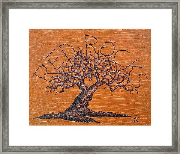 Framed Print featuring the drawing Red Rocks Love Tree by Aaron Bombalicki
