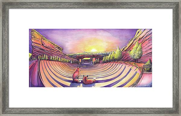 Foxes At Red Rocks Sunrise Framed Print