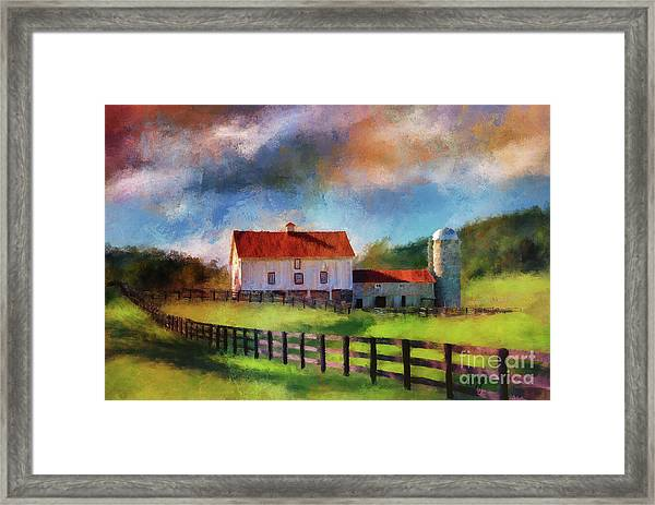 Framed Print featuring the digital art Red Roof Barn by Lois Bryan