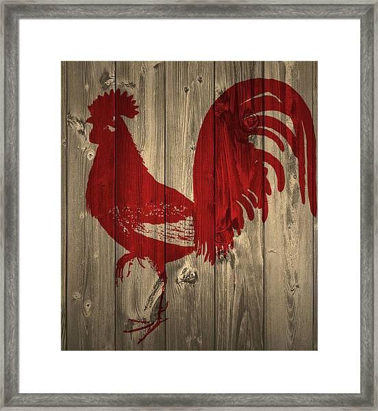 Red Rooster Barn Door Framed Print