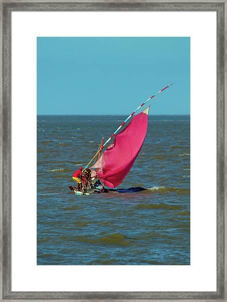 Red Sail Near Maputo Framed Print