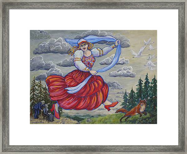 Red Shoes And Swans Framed Print
