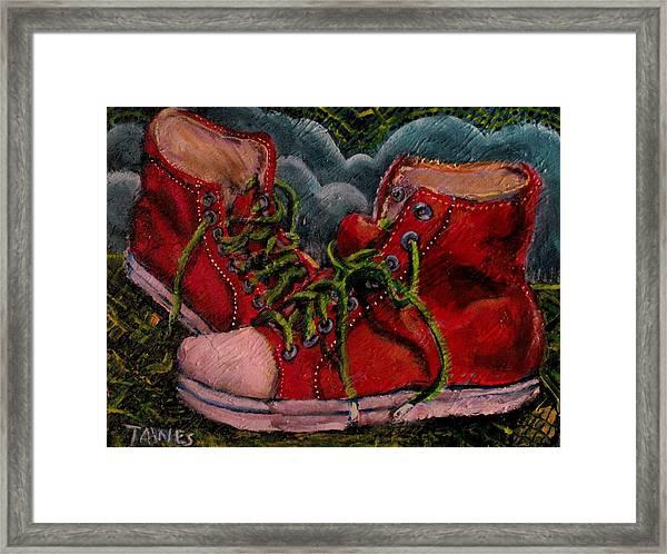 Red Sneakers Framed Print